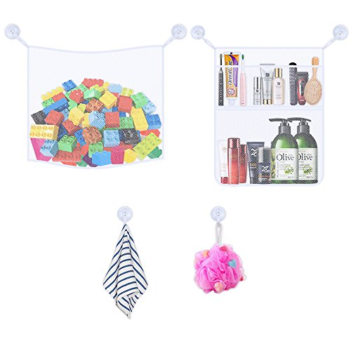 2 Large Size Bath Toy Organizer +  6 Ultra Strong Hooks -- Keep Toys Dry Without Mold,Premium Quality Mesh Basket for Toddlers and Kids Toys