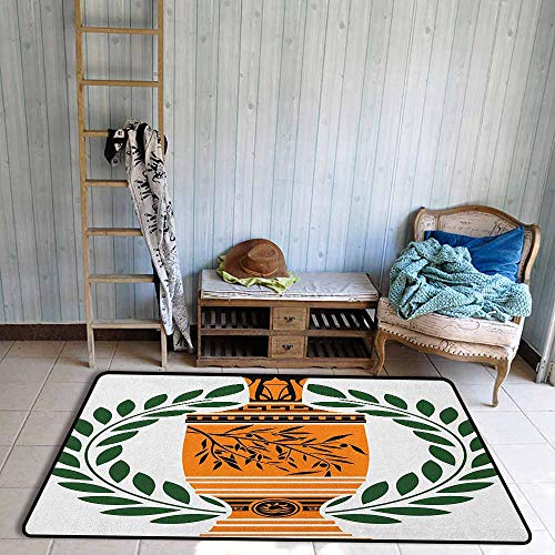 Custom Rug,Toga Party Old Antique Greek Vase with Olive Branch Motif and Laurel Wreath,Rustic Home Decor,4'11