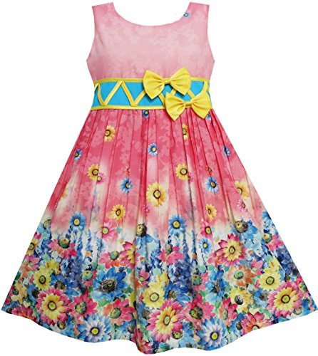 FS51 Girls Dress Sunflower Garden Flower Print Cotton Red Size 4