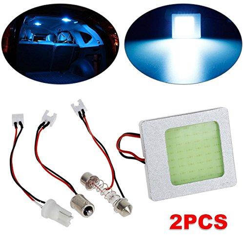 Partsam 2x Ice Blue 48 Chips COB LED Panel Lights Univeral Interior Accessoires Lamps + Ba9s T10 Festoon Adapter Lamp Bulb
