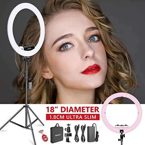 Neewer Ring Light Kit [Upgraded Version-1.8cm Ultra Slim]-18 inches,3200-5600K,Dimmable LED Ring Light with Light Stand,Rotatable Phone Clip,Hot Shoe Adapter for Portrait Makeup Video Shooting(Pink)
