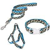 PAWZ Road Leopard Pet Leash Collar Harness Set Blue M