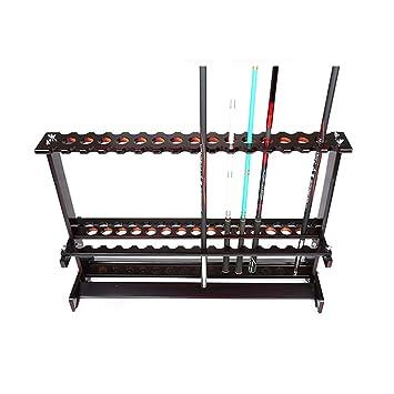 釣りロッドディスプレイラックディスプレイラック家庭用釣竿収納ラック釣竿ブラケット木製釣竿棚ディスプレイラック(Color:Black,Size:88*28*60cm)の画像