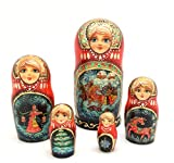 Unique One of the Kind Russian Nesting dolls ''Russian Troyka'' Hand Carved Hand Painted 5 piece set