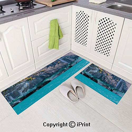 2 Piece Flannel Kitchen Rugs Cushioned Chef Soft (15