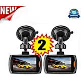 Becoler 2 PCS Car 1080P 2.2 Inch Full HD DVR Vehicle Camera Dash Cam Video with G-sensor Night Vision