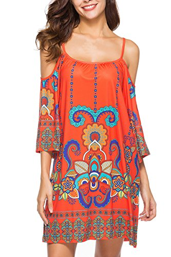 Spaghetti Shift Pattern Shoulder Cold Womens Tribal Anatoky 10 Dress Summer Strap Printed tqATE8