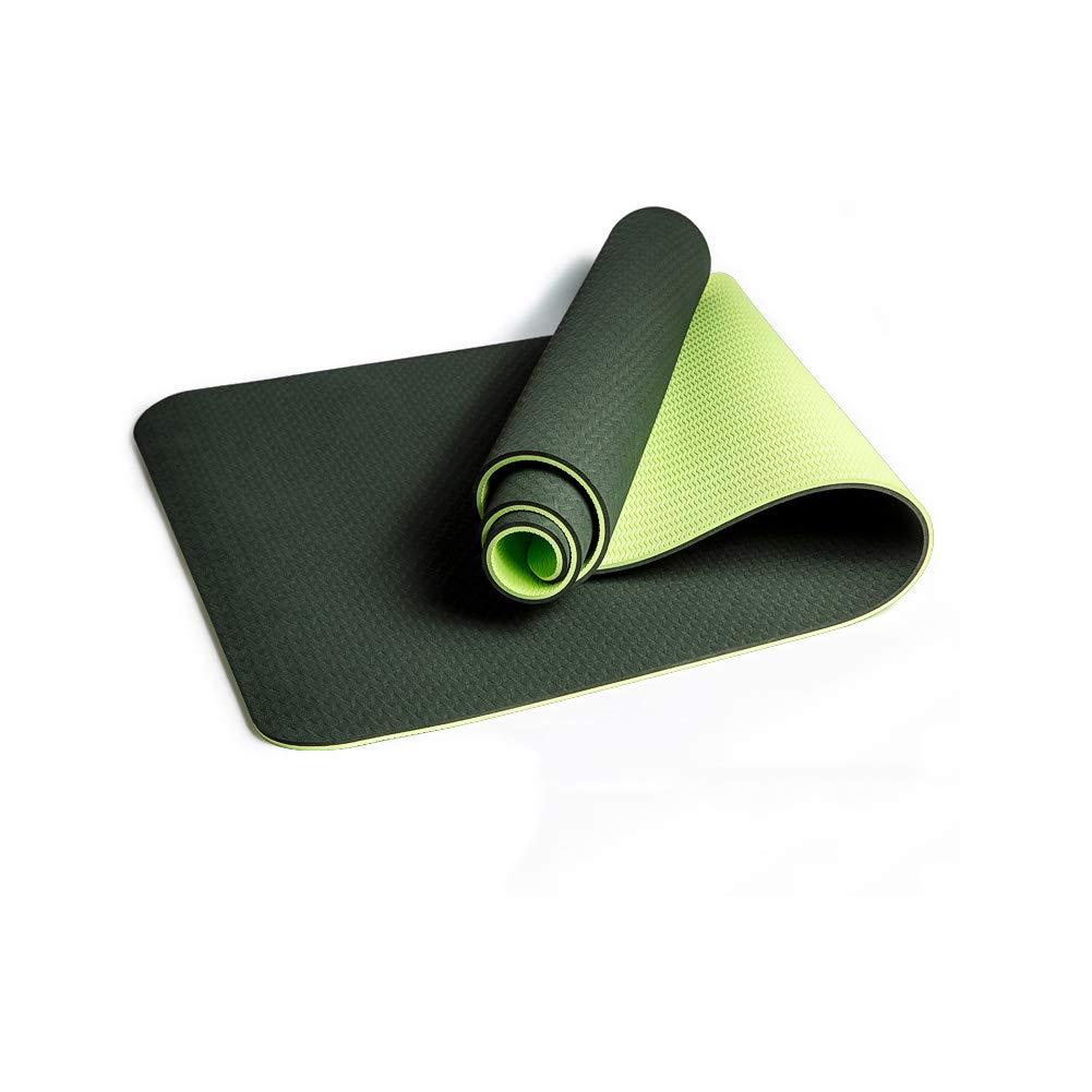 ZSKJ Rutschfeste Yoga-Matte Pilates Matten Eco-Friendly & SGS-zertifiziertes TPE-Material - geruchlos, Rutschfest, haltbares Leichtgewicht, Zweifarbiges Design, Dicke ¼ Zoll Dicke ¼ Zoll (Dunkelblau)