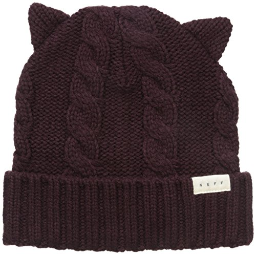 Neff Women's Kat Ears Beanie, Port, One Size