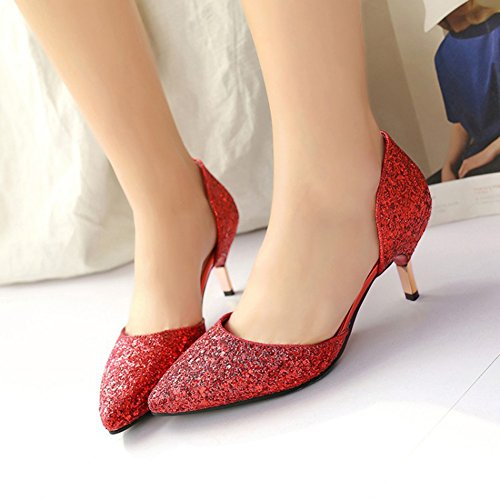 Easemax Womens Trendy Sequins Glitter Pointed Toe Low Top Mid Kitten Heel Sandals Red OHy8sizo