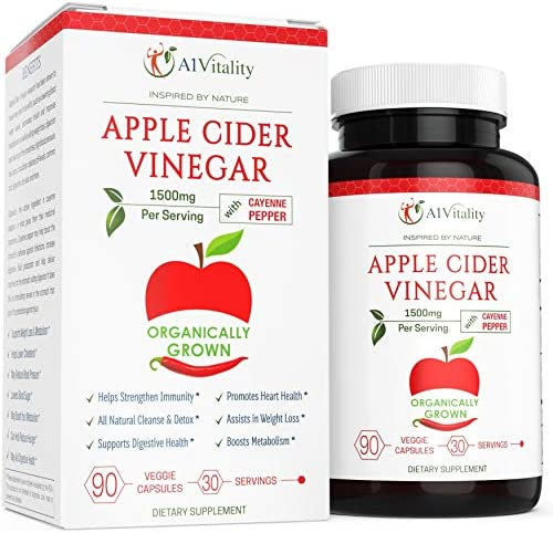 Organic Apple Cider Vinegar with Cayenne Pepper – Natural Detox Cleanse, Weight Loss, Digestion, Appetite Suppressant, Prevent Bloating, Immune Health, Premium Keto Friendly Supplement 1500mg Capsules 1