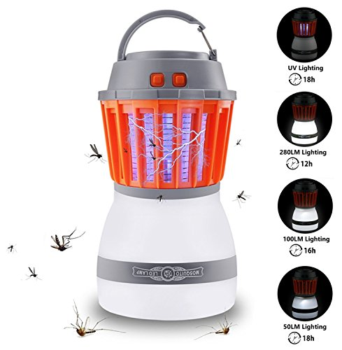 Fly Partner Mosquito Killer Camping Lamp, 2 in 1 Electronic Insect Killer Light via USB Charging, 2200mAh Rechargeable & PortableIP67 Waterproof, for Indoor & Outdoors, Home & Traveling