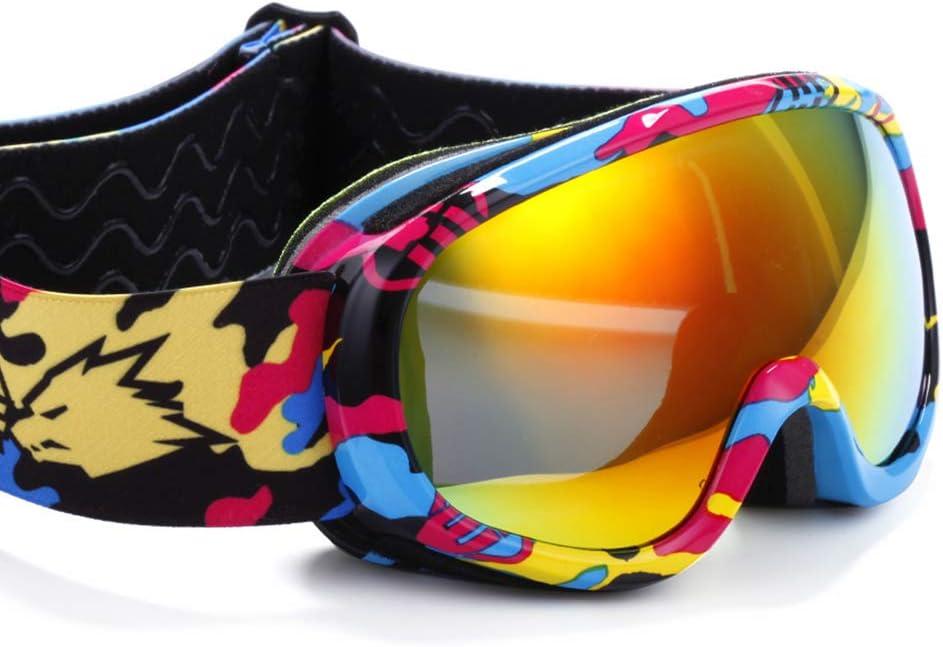 スキー用のゴーグル スキーゴーグル - PC、ダブルアンチフォグ、シリコンノンスリップヘッドバンド、偏光レンズ、真のREVOフィルム、子供用ユニバーサルスキーと登山ゴーグル(5色あり) (色 : 迷彩) 迷彩