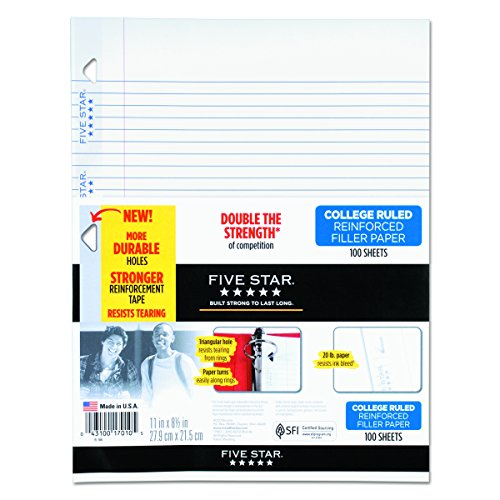 forced Filler Paper, 20lb, College Rule, 11 x 8 1/2, White, 100 Sheets (Notebook College Rule Letter)