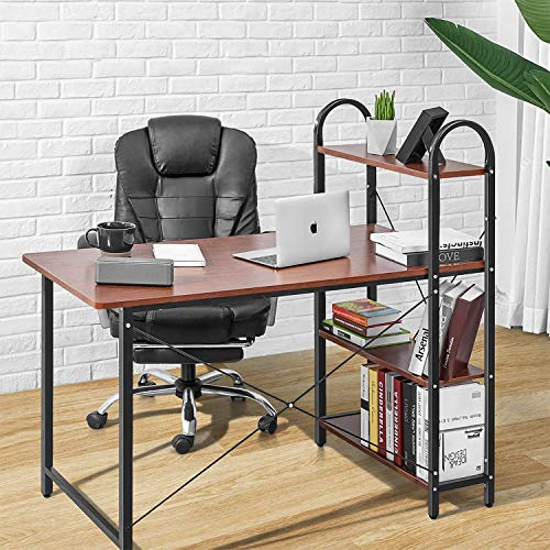 AOOU Desk with Bookshelf, Computer Writing Desk with Storage, Home Office Study Desk with Sturdy Frame, Multipurpose PC Wood Workstation, 46.9x45.3x22.8 in, Brown