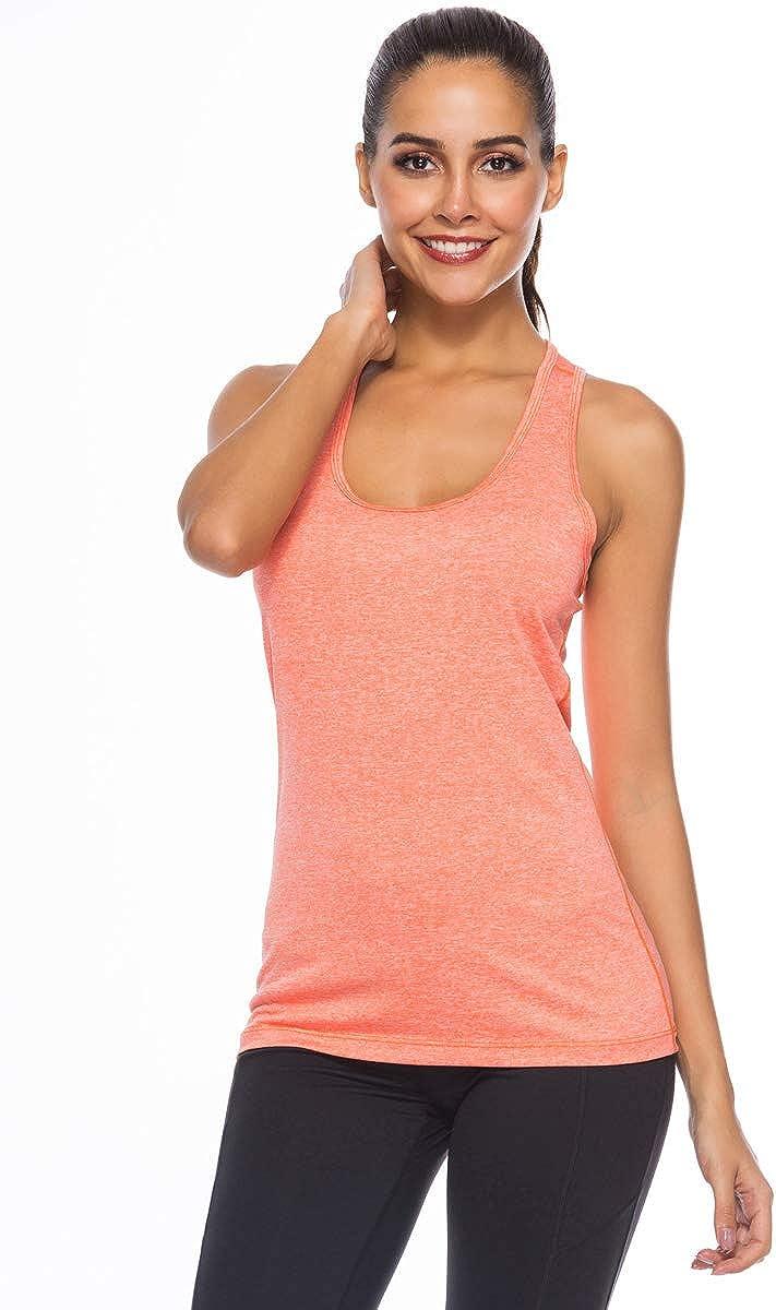 JINSHI Damen Sportshirt Basic Ringerr/ücken Tank Top Fitness Yoga Funktions Laufshirt