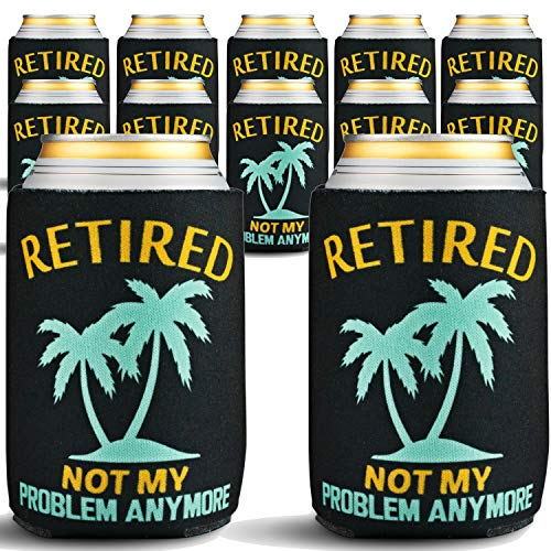 Retirement Gifts for Men or Women - 12-Pack of Premium Can Coolers - Beer Sleeves for Retirement Party Decorations, Retired Gifts for Men, 12 Black Beer Cooler Insulated Sleeves with Palm Tree Design