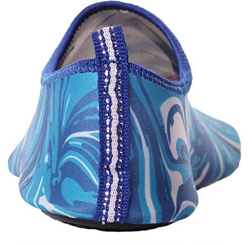 Caihee Dames En Heren Lichtgewicht Sneldrogende Slip Op Waterschoenen Aqua Barefoot Skin Shoes Blue2