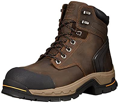 Timberland PRO Men's 6 Inch Stockdale Grip Max Alloy Leather Work and Hunt Boot, Dark Brown Full Grain Leather, 7 M US