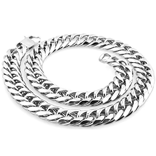 Beveled Curb Chain (Mens Stainless Steel Silver 26