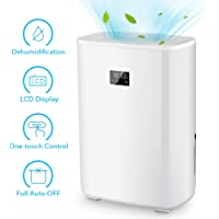 Electric Dehumidifier - Portable Dehumidifier 5.3 Pints Water Tank Small Dehumidifier with Digital Display Sound warning Spaces up to 2200 Cubic ft Bedroom Basement RV Caravan Office Garage Kitchen