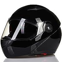 ILM 8 Colors Motorcycle Modular Flip up Dual Visor Helmet DOT (L, Gloss Black) from ILM