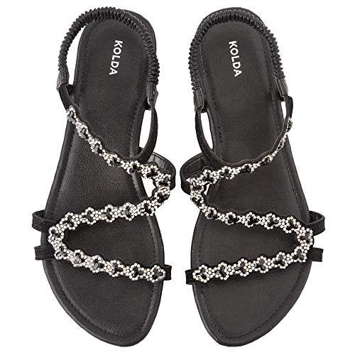 KOLDA Low Heel Women Dress Sandals Wedge Sandal Jeweled Rhinestone Decro Comfortable Summer Shoes for Women Ladies Black