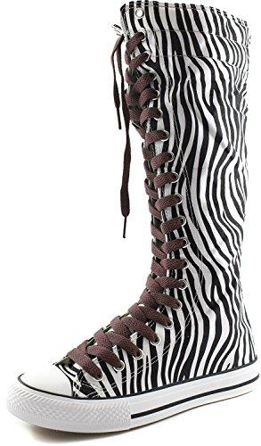 Stivale Alto Al Ginocchio Donna Alto Classico Stivale Alto In Tela Pizzo Alto Alla Moda Punk Flat Sneaker Boots Zebra Boots, Hot Brown Lace