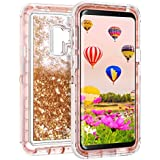Samsung Galaxy S9 Case, Coolden Luxury Floating Glitter Case Sparkle Bling Quicksand Liquid Cover Clear Shockproof Bumper Dual Layer Anti-Drop PC Frame + TPU Back for Galaxy S9, Rose Gold