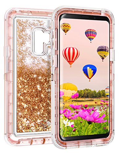 Samsung Galaxy S9 Plus Case, Coolden Luxury Floating Glitter Case Sparkle Bling Quicksand Liquid Cover Clear Shockproof Bumper Dual Layer Anti-Drop PC Frame + TPU Back for Galaxy S9 + Plus (Rose Gold)
