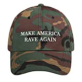 Make America Rave Again Hat (Embroidered Dad Cap) EDM Festival, Electronic House Dubstep Music Fan MAGA Parody Green Camo