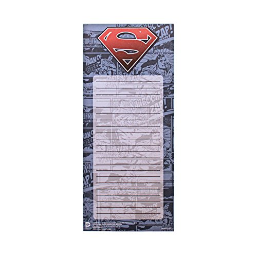 Silver Buffalo SP7353 DC Comics Superman Comic with Logo Magnetic Stationery to Do List Notepad, Blue, 3.5 x 8.5 inches