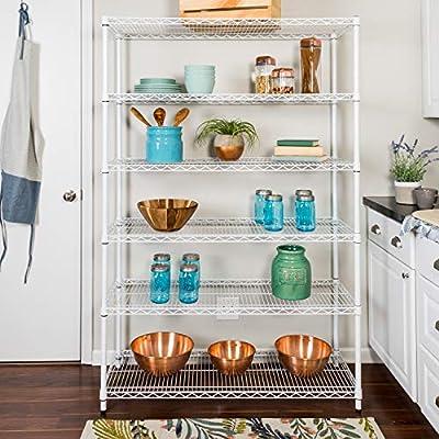 Honey-Can-Do SHF-01910 Adjustable Storage Shelving Unit, 600-Pounds Per Shelf, White, 6-Tier, 48Lx18Wx72H