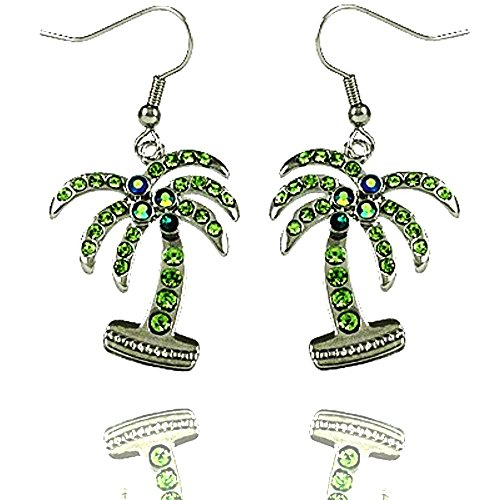 (DianaL Boutique Silver Tone Palm Tree Earrings Dangle Green Rhinestone Crystal Gift Boxed)