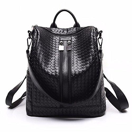 MSZYZ Doble propósito femenino bolso bolsa blanda de cuero de moda casual de personalidad única,bolso negro/d black/C