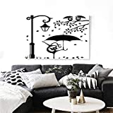 """Cat Modern Canvas Painting Wall Art Funny Kitty with Umbrella Dancing Under Street Lantern in Town Urban Humorous Print Art Stickers 36""""x32"""" Black White"""