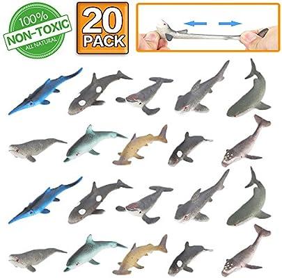 Amazon.com: Figura de tiburón para juguete, 20 unidades de ...