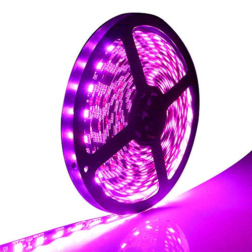EverBright Super Brightness Pink 5M(16.4Ft) 5050 SMD 30LED/M 150 LED Waterproof Flexible Light Strip PCB Black For Car truck Neon Undercar Lighting Kits Mall booth House decoration Stage music Coloref