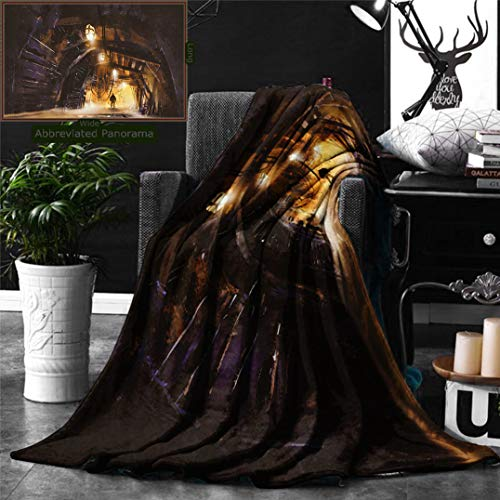 Ralahome Unique Custom Digital Print Flannel Blankets Fantasy Art House Decor Underground Tunnel The Mine Shaft Smokey Dark Rocky Aba Super Soft Blanketry Bed Couch, Throw Blanket 60 x 50 Inches
