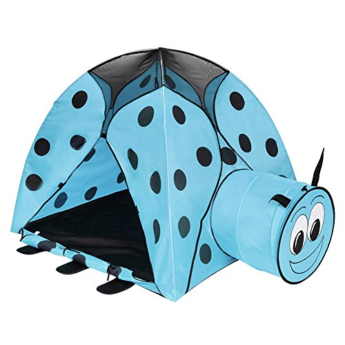 wonderfulwu 2-in-1 Kids Play Indoor/Outdoor Tunnel and Play Tent Ladybug Cartoon Beach Sun Pop Up Tent Playground Beetle Game House for Children Kids Play (Games 100 Playground)