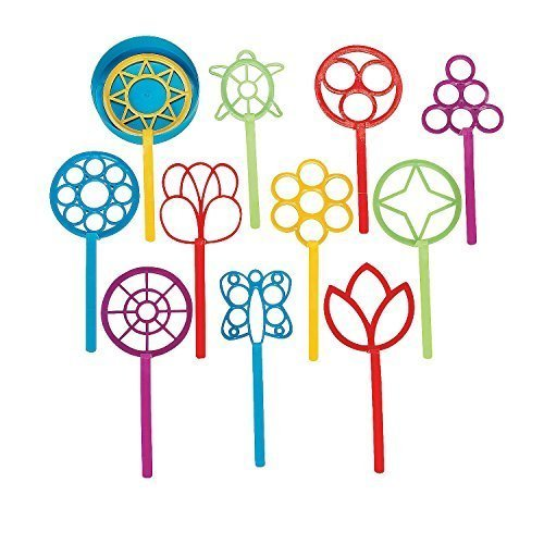 SUPER FUN BUBBLE WAND ASSORTMENT (1 DOZEN) - BULK