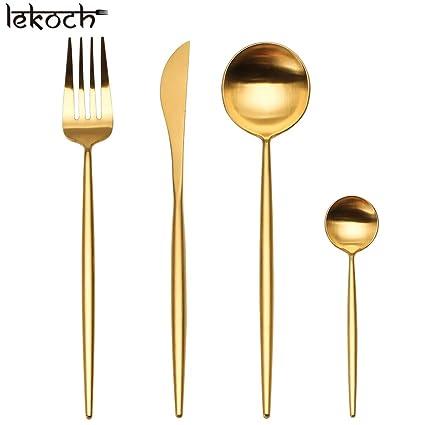 LEKOCH Cubiertos de acero inoxidable de 18/10, 4 piezas, que incluyen tenedores
