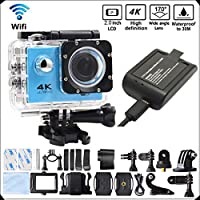 DITONG DT61 4K Ultra HD Action Camera Wifi 1080P 60fps 16MP/12MP 2.0 inch Waterproof Sports Video Camera Car Helmet Camcorder with 2pcs Batteries(Blue)
