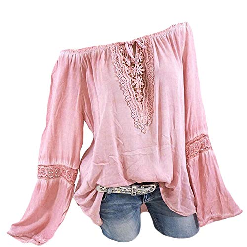 - Plus Size Blouse Women Slash Neck Long Sleeves Pure Color Lace Splicing Tops Pink