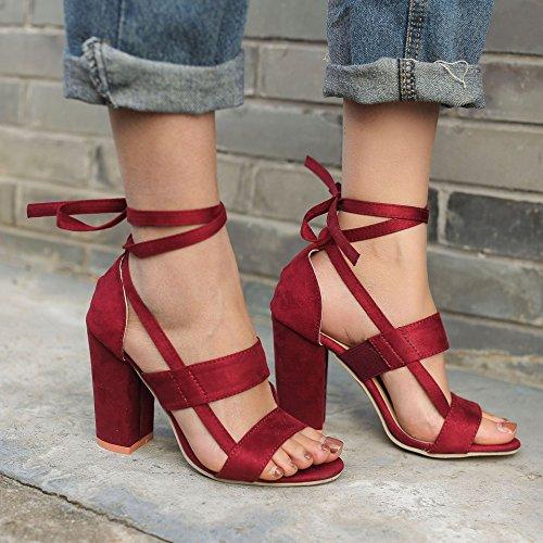 Minetom Sandali Partito Casuale Rosso Vino Tacco Donna Eleganti A Peep Moda Beach Shoes Toe Sandals A Blocco Scarpe Estate ES0Erqw