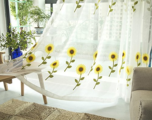 AliFish 1 Panel Decorative Sheer Voile Fresh Floral Pattern Tulle Voile Door Window Room Curtain Drape Panel Sheer Scarf Valances Embroidered Sunflower Sheer Curtains W39 x L63 inch by AliFish