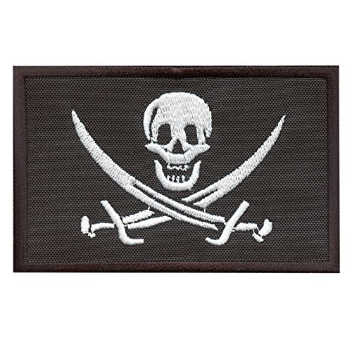 LEGEEON Calico Jack Skull Pirate Jolly Roger Morale Tactical ISAF Embroidery Sew Iron on Patch