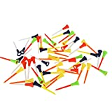 DaKuHo Plastic Golf tees 3 1/4 inch 30PC Multi Color Plastic Golf Tees 83mm Durable Rubber Cushion Top Golf Tee
