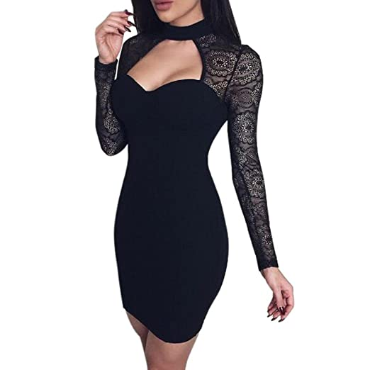 ea0b14517047 FUNIC Fashion Womens Bodycon Dress Ladies Club Party Long Sleeve Lace Mini  Dress (XS,