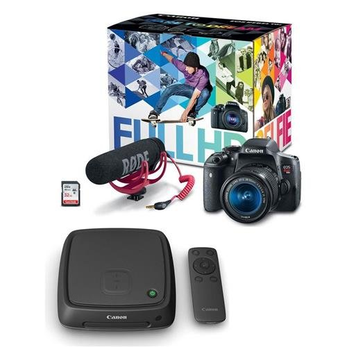 Canon EOS Rebel T6i Video Creator Kit - with EF-S 18-55mm f/3.5-5.6 IS STM Lens, Rode VIDEOMIC GO Mic, Sandisk 32G SD Card Class 10 - With Canon Connect Station CS100 by Canon